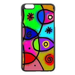 Digitally Painted Colourful Abstract Whimsical Shape Pattern Apple iPhone 6 Plus/6S Plus Black Enamel Case