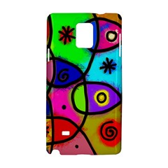 Digitally Painted Colourful Abstract Whimsical Shape Pattern Samsung Galaxy Note 4 Hardshell Case