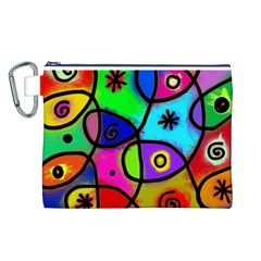Digitally Painted Colourful Abstract Whimsical Shape Pattern Canvas Cosmetic Bag (l)