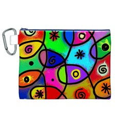 Digitally Painted Colourful Abstract Whimsical Shape Pattern Canvas Cosmetic Bag (XL)