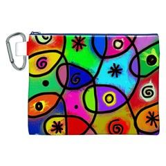 Digitally Painted Colourful Abstract Whimsical Shape Pattern Canvas Cosmetic Bag (xxl)