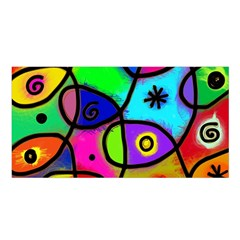 Digitally Painted Colourful Abstract Whimsical Shape Pattern Satin Shawl