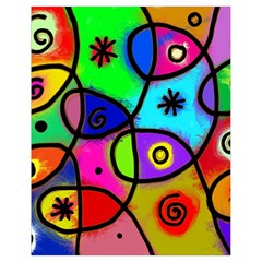 Digitally Painted Colourful Abstract Whimsical Shape Pattern Drawstring Bag (Small)