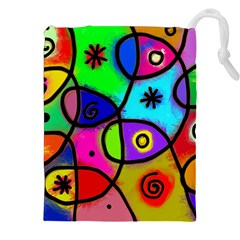 Digitally Painted Colourful Abstract Whimsical Shape Pattern Drawstring Pouches (XXL)