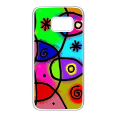 Digitally Painted Colourful Abstract Whimsical Shape Pattern Samsung Galaxy S7 White Seamless Case