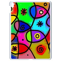 Digitally Painted Colourful Abstract Whimsical Shape Pattern Apple Ipad Pro 9 7   White Seamless Case