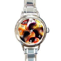 Colourful Abstract Background Design Round Italian Charm Watch