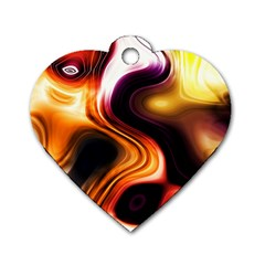 Colourful Abstract Background Design Dog Tag Heart (two Sides)