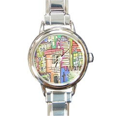 A Village Drawn In A Doodle Style Round Italian Charm Watch