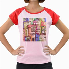 A Village Drawn In A Doodle Style Women s Cap Sleeve T-Shirt