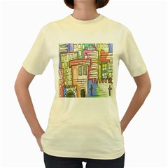 A Village Drawn In A Doodle Style Women s Yellow T Shirt