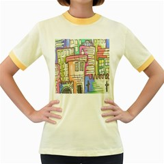 A Village Drawn In A Doodle Style Women s Fitted Ringer T-Shirts