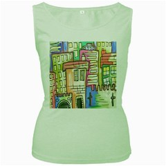 A Village Drawn In A Doodle Style Women s Green Tank Top
