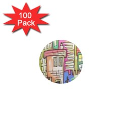 A Village Drawn In A Doodle Style 1  Mini Magnets (100 pack)