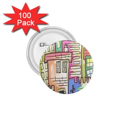 A Village Drawn In A Doodle Style 1 75  Buttons (100 Pack)