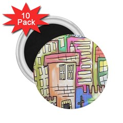 A Village Drawn In A Doodle Style 2.25  Magnets (10 pack)