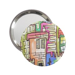 A Village Drawn In A Doodle Style 2.25  Handbag Mirrors