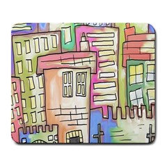 A Village Drawn In A Doodle Style Large Mousepads