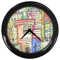 A Village Drawn In A Doodle Style Wall Clocks (Black)