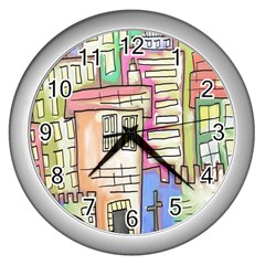 A Village Drawn In A Doodle Style Wall Clocks (silver)