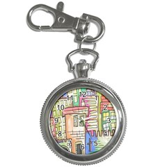A Village Drawn In A Doodle Style Key Chain Watches