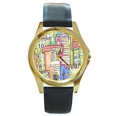 A Village Drawn In A Doodle Style Round Gold Metal Watch