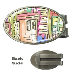 A Village Drawn In A Doodle Style Money Clips (oval)