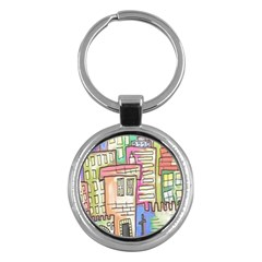 A Village Drawn In A Doodle Style Key Chains (Round)