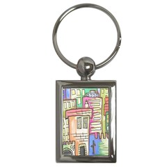 A Village Drawn In A Doodle Style Key Chains (rectangle)