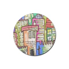A Village Drawn In A Doodle Style Rubber Round Coaster (4 Pack)