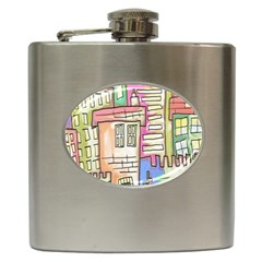 A Village Drawn In A Doodle Style Hip Flask (6 oz)