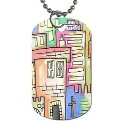 A Village Drawn In A Doodle Style Dog Tag (two Sides)