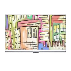 A Village Drawn In A Doodle Style Business Card Holders