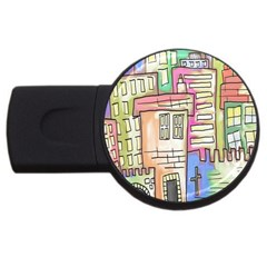 A Village Drawn In A Doodle Style USB Flash Drive Round (2 GB)