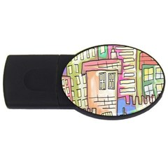 A Village Drawn In A Doodle Style USB Flash Drive Oval (2 GB)