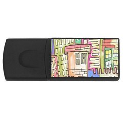 A Village Drawn In A Doodle Style USB Flash Drive Rectangular (1 GB)