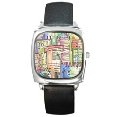 A Village Drawn In A Doodle Style Square Metal Watch