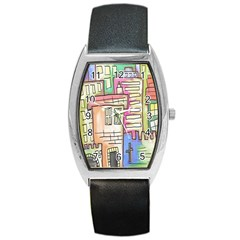 A Village Drawn In A Doodle Style Barrel Style Metal Watch