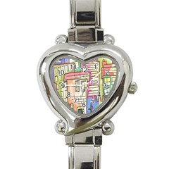 A Village Drawn In A Doodle Style Heart Italian Charm Watch