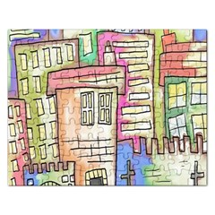 A Village Drawn In A Doodle Style Rectangular Jigsaw Puzzl