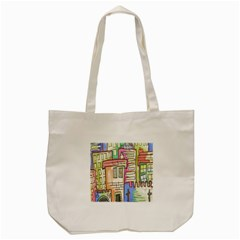A Village Drawn In A Doodle Style Tote Bag (cream)