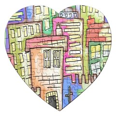 A Village Drawn In A Doodle Style Jigsaw Puzzle (heart)