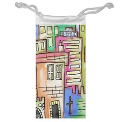 A Village Drawn In A Doodle Style Jewelry Bag