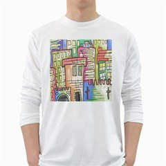A Village Drawn In A Doodle Style White Long Sleeve T Shirts