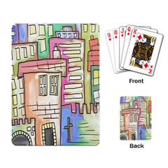 A Village Drawn In A Doodle Style Playing Card