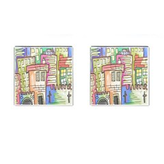 A Village Drawn In A Doodle Style Cufflinks (square)