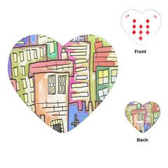A Village Drawn In A Doodle Style Playing Cards (heart)