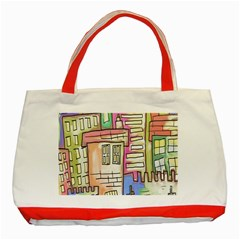 A Village Drawn In A Doodle Style Classic Tote Bag (Red)