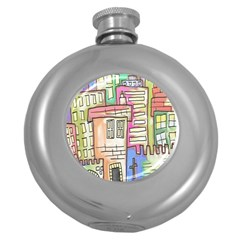 A Village Drawn In A Doodle Style Round Hip Flask (5 Oz)