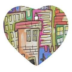 A Village Drawn In A Doodle Style Heart Ornament (two Sides)